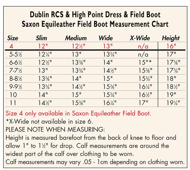Sizing Chart For Riding Boots Eurous