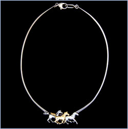 Three Galloping Horses Necklace