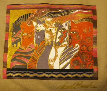 Laurel Burch Moroccan Mares Sweatshirt in Tan