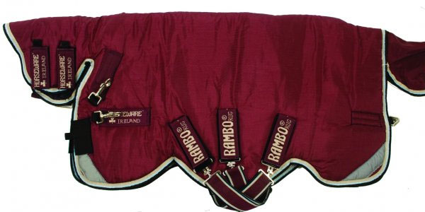 Rambo All-In-One Heavy 400g Turnout Blanket in Burgundy in Duck Egg