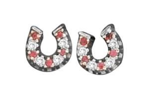 Kelly Herd Sterling Silver Baby Horseshoe Earrings - Ruby Red