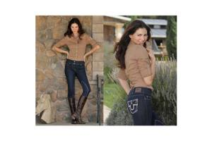 Goode Rider Couture Jean Rider Knee Patch Breeches in Dark Denim