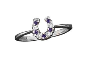 Kelly Herd Sterling Silver Baby Horseshoe Ring - Sapphire Blue