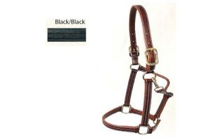 Walsh Black Leather Laura Kraut British Halter with Throat Snap