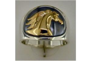 Kabana 14k Gold and Sterling Silver Mens Horse Head Ring