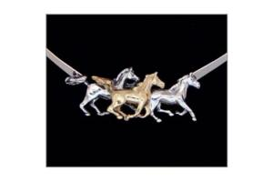 Kabana 14k Gold and Sterling Silver Three Galloping Horses Neckcollar