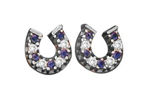 Kelly Herd Sterling Silver Baby Horseshoe Earrings - Sapphire Blue