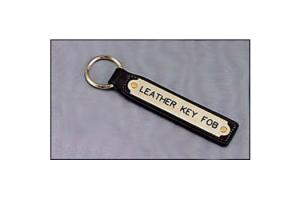 Engraved Mahogany Leather Keychain