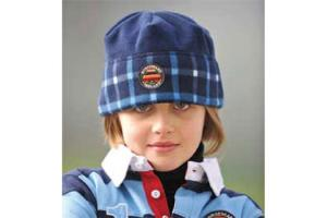 Kids Newmarket Blue Check Fleece Hat