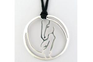 Loriece Reverse Horse Head Disc Necklace