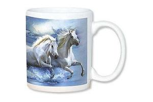 Galloping Horses Coffee Cup by John Rowe