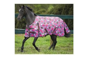 Weatherbeeta Pony Original 600D Standard Neck Lite Turnout in Purple and Pink Spots