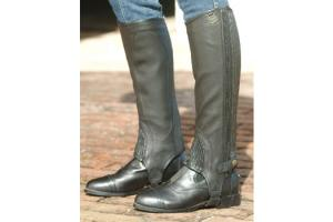 Ovation Childrens Pro Top Grain Ribbed Half Chaps - Brown/Black