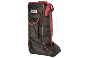Roma Quilted Nylon Tall Boot Bag in  Black and Sangria