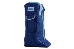 Roma Quilted Nylon Tall Boot Bag in Navy/Light Blue