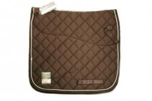 Rambo Grand Prix Show Dressage Saddle Pad in Chocolate Brown and Tan