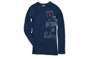 Stirrups I'd Rather Be Riding Long Sleeve Tee Shirt in Blue