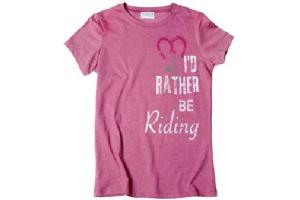 Stirrups I'd Rather Be Riding Ladies Tee Shirt in Raspberry