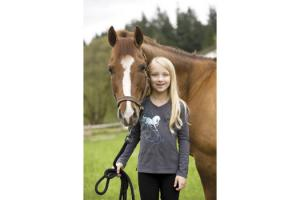 Irideon Kids Prancing Pony Long Sleeve Tee in Graphite
