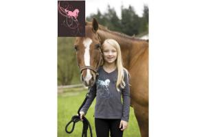 Irideon Kids Prancing Pony Long Sleeve Tee in Espresso