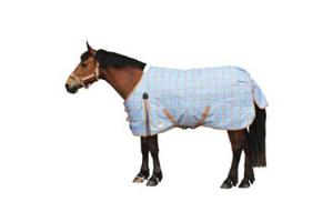 Weatherbeeta Pony 600D Medium 220g Standard Neck Turnout in Light Blue and Latte