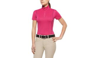 Ariat Women's Cambria Quarter Zip Shirt in Pink Paradise