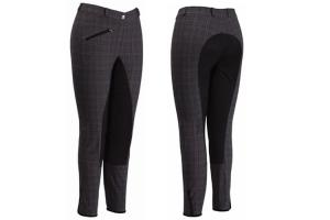 TuffRider EcoGreen Bamboo Full Seat Breeches in Black and Gray Plaid
