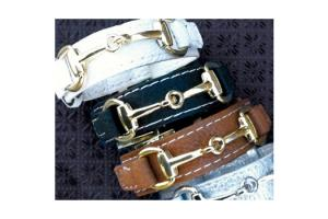 Wyo-Horse Gold Snaffle Bit Leather Bracelet