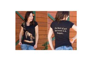 Cowgirls for a Cause Just Gotta Be Lunged Tee Shirt in Black