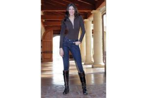 Goode Rider Horsebit Jean Rider Knee Patch Breeches - Dark Rinse