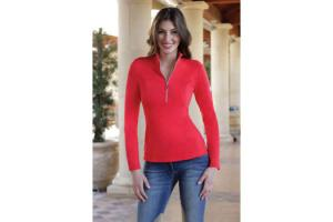 Goode Rider Long Sleeve Ideal Show Shirt in Tomato