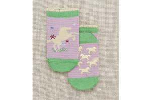 Hatley Running Horses No-Slip Kids' Socks in Pink