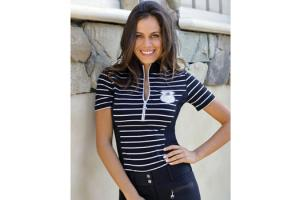 Goode Rider Ideal Show Shirt in  Black and White Stripe