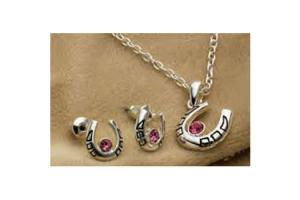 Horseshoe Necklace & Earring Set - Pink Rhinestones