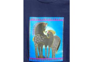 Laurel Burch Ladies Tee Shirt in Indigo Horses