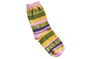 Medium Child's Sock in Pink Stripe