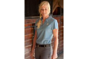 Romfh Ladies Cap Sleeve Polo Shirt in Reflection Blue