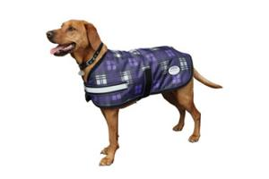Weatherbeeta 1200D Medium 220g Dog Parka in Purple and Grey Plaid