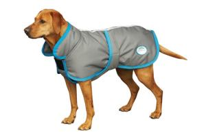 Weatherbeeta 600D (220g) Dog Parka with Belly Strap in Gunmetal and Blue