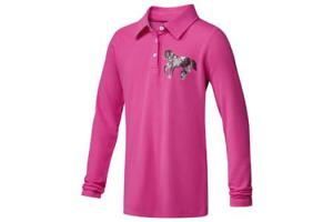 Ariat Girl's Pony Long Sleeve Polo in Pale Magenta