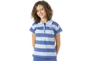 Ovation Butterfly Striped Polo Light Blue