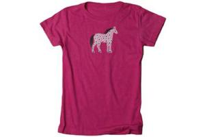 Stirrups Floral Pony Girls Vintage Tee Shirt in Hot Pink