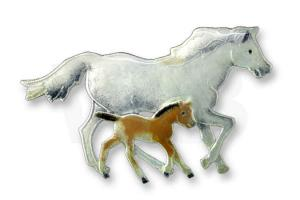 Sterling Silver Mare and Foal Pin by Zarah