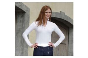 Goode Rider Long Sleeve Ideal Show Shirt in White with White Zipper