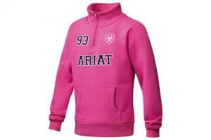 Ariat Girl's Indio Logo 1/4 Zip Pullover in Pale Magenta