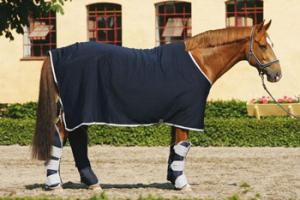Amigo Jersey Cooler With Attached Surcingle in Navy and Silver