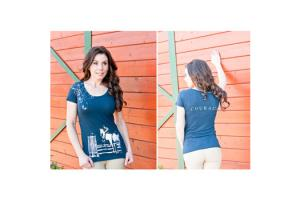 Cowgirls for a Cause Courage Jumper Tee Shirt in Midnight Navy