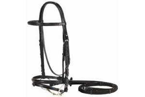 Vespucci Plain Raised Dressage Bridle Black