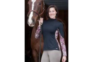 Kerrits Tactel Mockneck Riding Shirt in Black and Etched Razzle