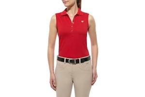 Ariat Women's Prix Sleeveless Polo Shirt in Cherry